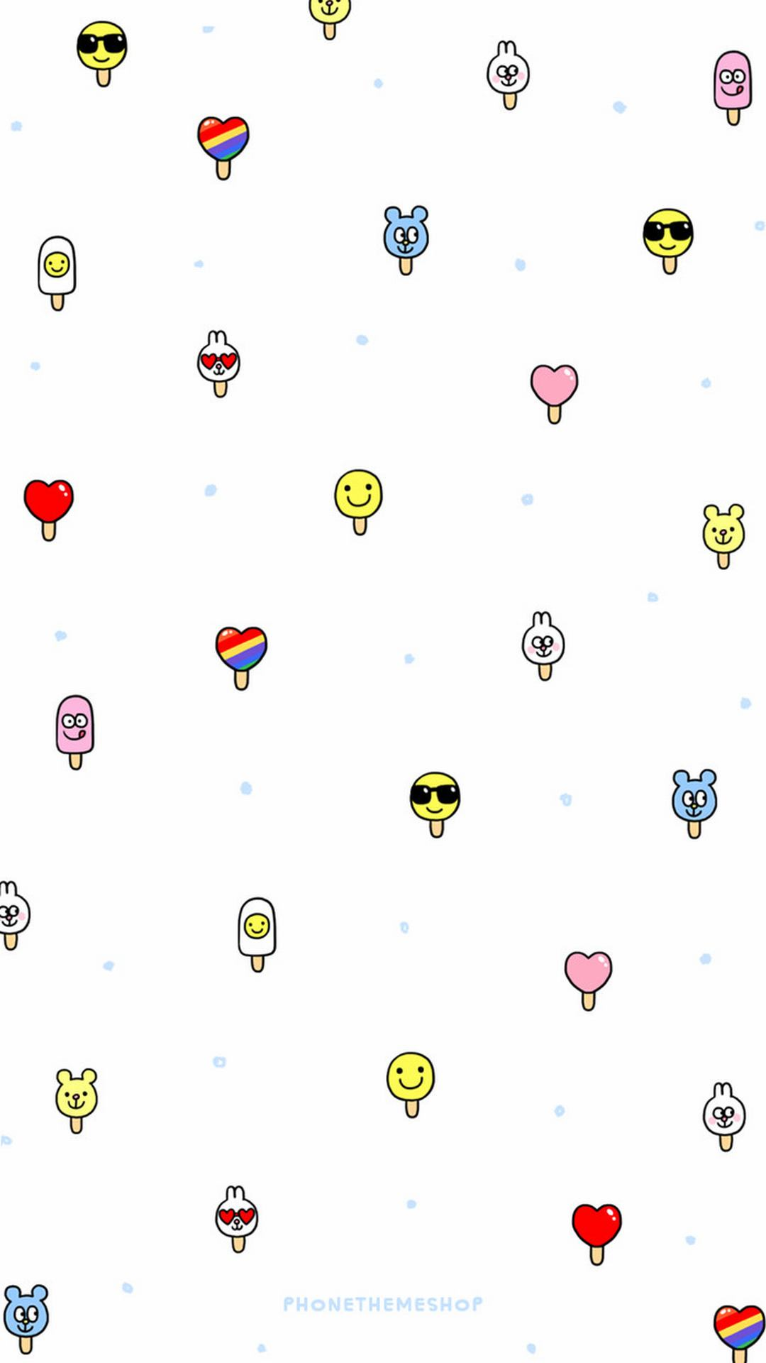 韩系小可爱卡通平铺手机壁纸_电脑主题网